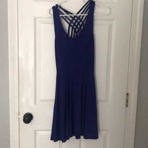 Open back design blue dress